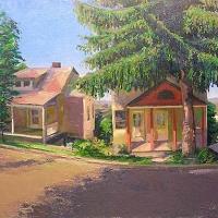 Summit Street Elkins oil on  canvas 20X42 2003