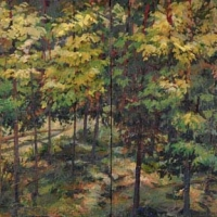 Painted Fiction Fallen Tree, diptych, acrylic on canvas, 20x40, 2013