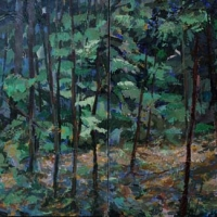 Painted Fiction Blue Forest, diptych acrylic on canvas, 20x40, 2013