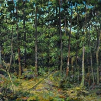 Painted Fiction An Opening in the Forest diptych, acrylic on canvas, 20x40, 2013