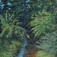 Pigg River Landscape Franklin County 22x12 Acrylic on canvas 2012-2013