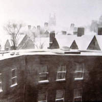 New Haven in Winter ink  wash on rag paper 1983